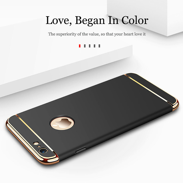 Luxury Gold Hard Case for iPhone 7 6 6s 5 5s SE X Back Cover Xs Max XR Removable 3 in 1 Fundas Case for iPhone 8 7 6 6s Plus Bag