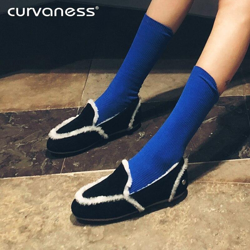 Australien Lok Noir Coton or Curvaness Pédale Le Fourrure Nouveau Bas gris Pois Chaussures Fu 2018 Épais Femmes Velours Une kaki Paresseux Plus qCCU0Ew
