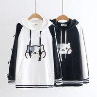 Japanese Cute Cartoon Neko Atsume Cat Claw Print Hooded Sweatshirt Female Student Pullover Hooded Hoodies Women Girls Coat