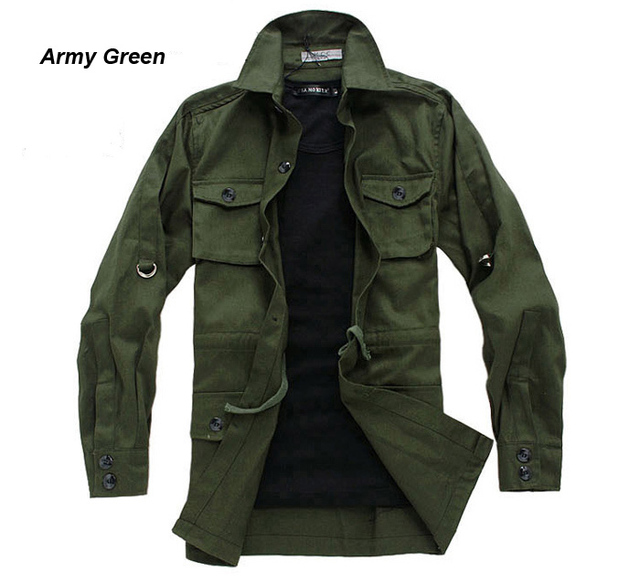 Bingbonn Mens Cargo Jackets Khaki Chino Jacket Man 5 Color Cotton