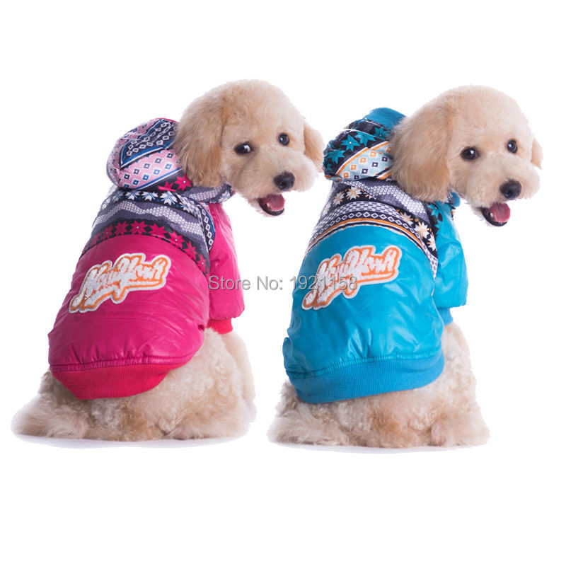 2016 Winter Warm Pet dog cotton clothes Lovely colorful pattern dog coat clothes two legs free shipping