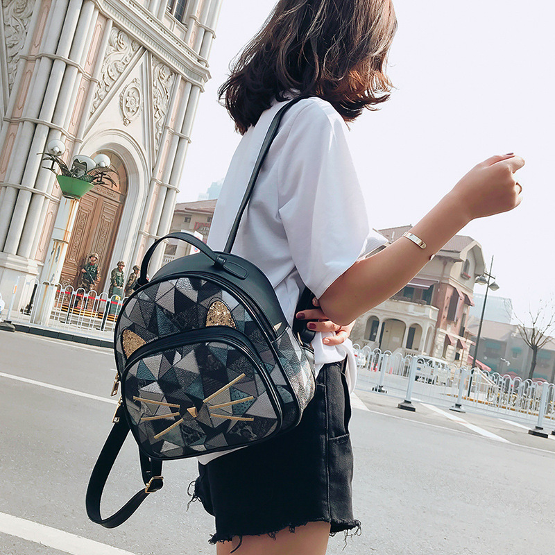 Girls Casual Backpack PU Geometric Design Backpacks Vintage Side Rivets Stud School Bag Lady Women Grey Frosted Leather Ruchsack (3)