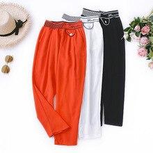 Wasteheart Summer Women Fashion Orange White Long Loose Pants Harem Pants High Waist Ankle Length Female Pants Casual Chiffon