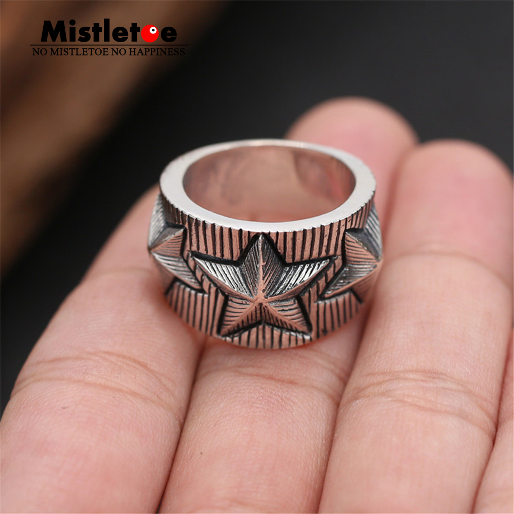 цена на Genuine 100% 925 Sterling Silver Vintage Retro Punk Star Ring For Women Men Fashion Jewelry