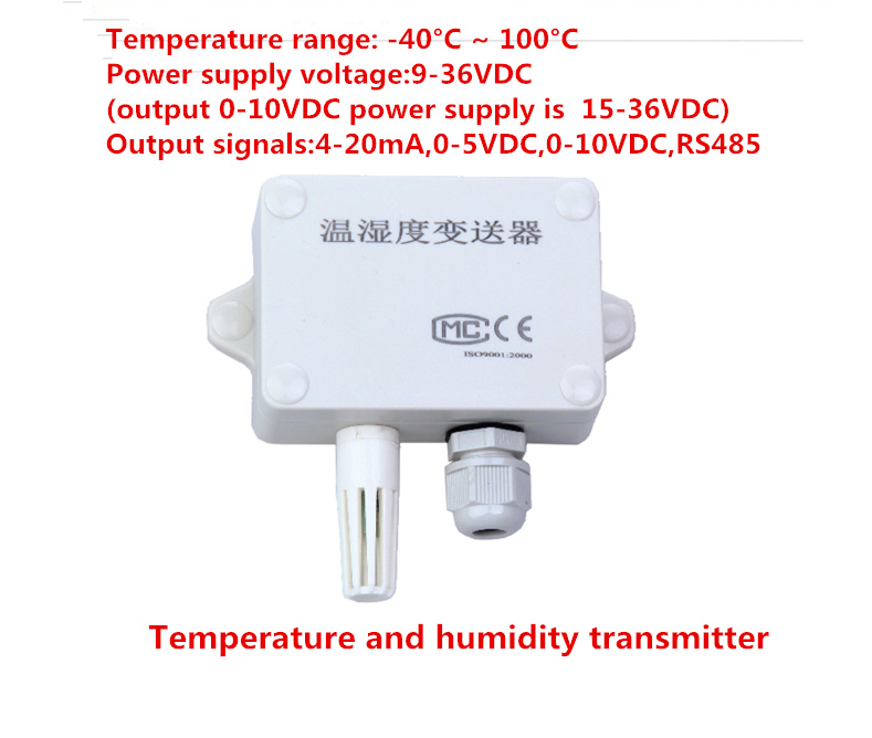 Wall Mounted Temperature Humidity Transmitter Detection Sensor RS485 Output