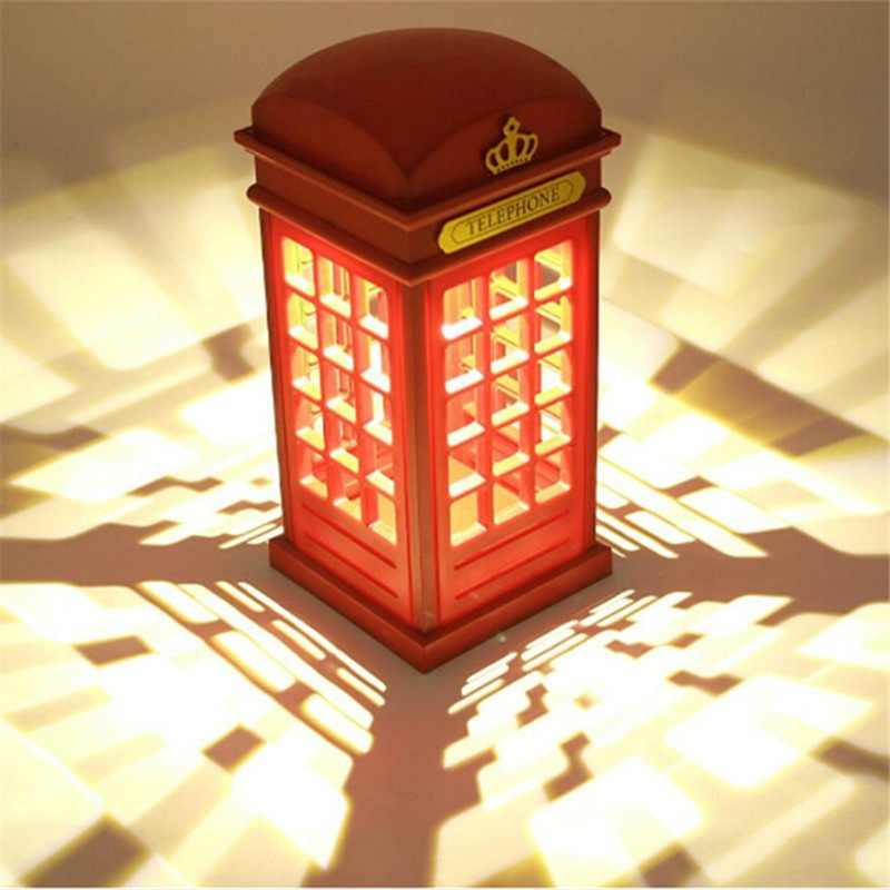 1pc Retro Rechargeable London Telephone Booth Night Light LED Bedside Table Lamp Rechargeable Battery & USB Plug