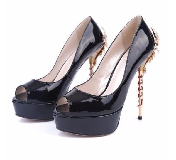 newest black patent leather high heel shoes sexy peep toe platform pumps for woman gold scorpion decorations dress heel pumps цена
