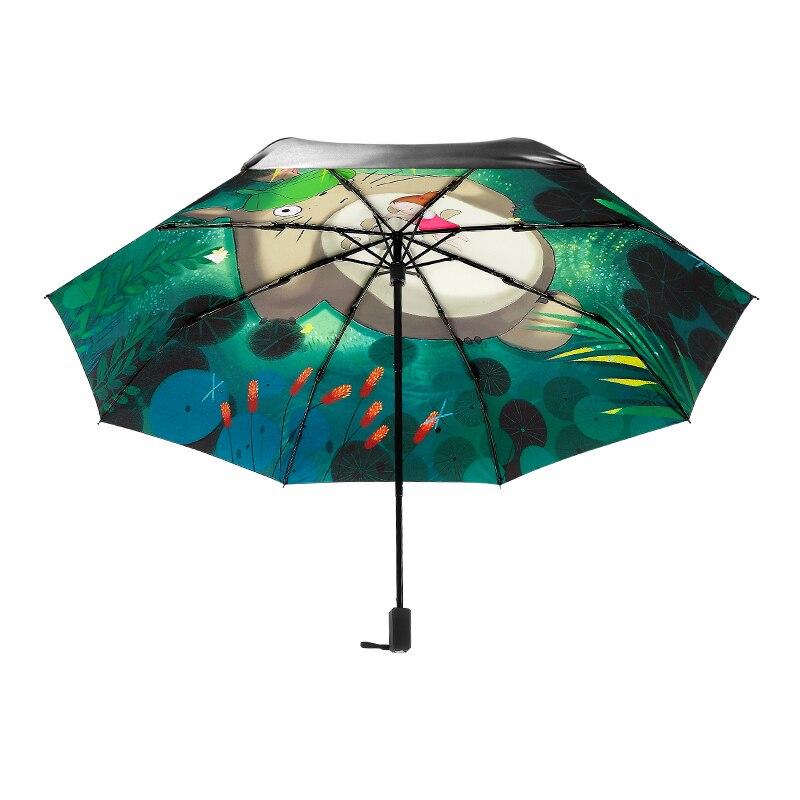 Parapluie créatif Totoro & Mei femmes dame pluie parapluie ensoleillé 3 pliant 8 côtes parasol résistant aux ultraviolets Guarda Chuva