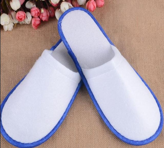 10 Pairs/lot Hotel Travel Spa Disposable Slippers Home Guest Slippers white blue wholesale 2018