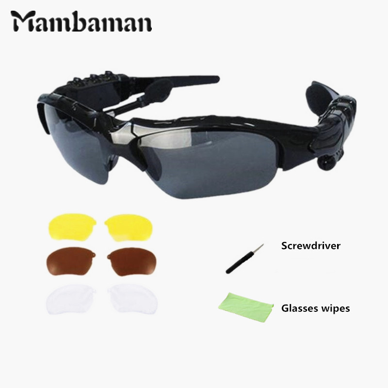 MambaMan bluetooth glasses lens Wireless Bluetooth 4.0 Headset Telephone Polarized Driving Sunglasses/mp3 Eyes Glasses new polarized driving sunglasses glasses mirror night and day dimming night vision glasses