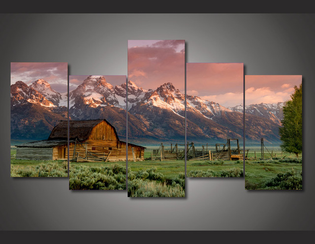 5 Panel Printed Modular Painting Country Landscape Canvas Print Art Modern  Home Decor Wall Art Picture