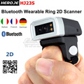 Free Shipping!Brand Heroje Portable Bluetooth Wearable Ring 2D Scanner Barcode Scanner Reader HJ23S with 300mA battery