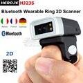 Frete Grátis! Marca Heroje Portátil Bluetooth Wearable Anel 2D Scanner de Código De Barras Scanner Leitor HJ23S com 300mA bateria