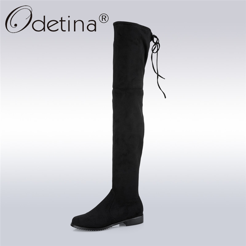 Odetina 2017 Fashion Women Faux Suede Over The Knee Boots Chunky Low Heel Thigh High Boots Lace Up Autumn Shoes Big Size 34-43 odetina 2017 new fashion autumn winter women thigh high boots blue denim over the knee boots high block heel shoes plus size 43