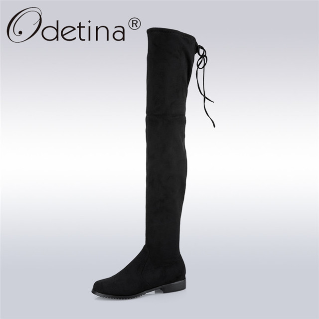 3c4e4764c84 Odetina 2017 Fashion Women Faux Suede Over The Knee Boots Chunky Low Heel  Thigh High Boots Lace Up Autumn Shoes Big Size 34-43