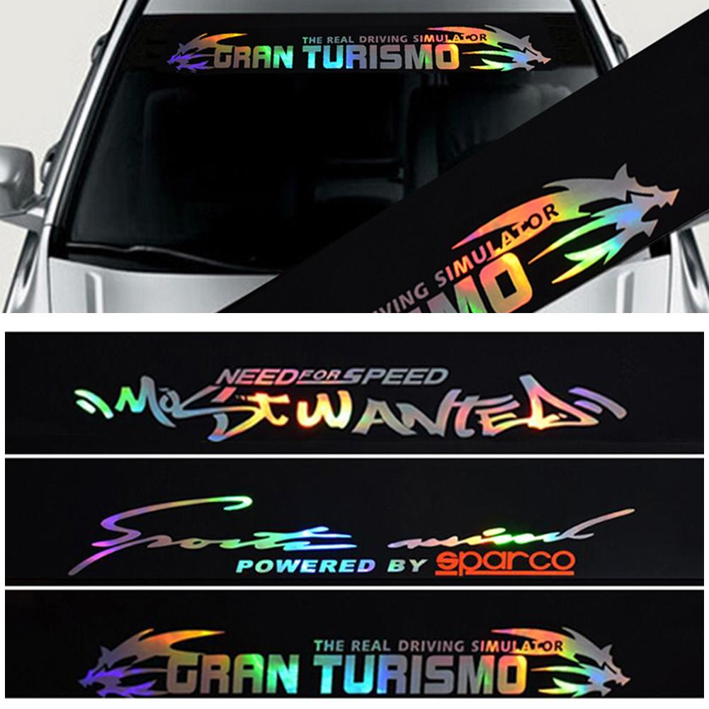 Image 5 - New 8 X 52 PVC Windshield Sticker Banner Strip Racing Front Rear Window Car Sun Visor Laser Reflective Decorative Stickers-in Car Stickers from Automobiles & Motorcycles