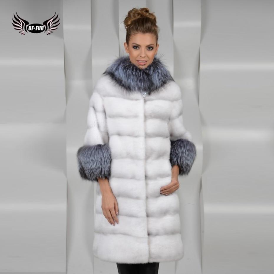 BFFUR Women Fur Coat Genuine Leather Fashion Slim Fur Winter Jackets Women Mink Fur Coat Real Value Silver Fox Fur Collar