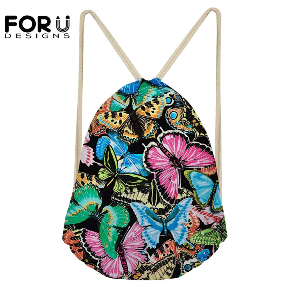FORUDESIGNS Colorful 3D Butterfly Printed Drawstring Bag Women School Backpacks Soft For Teenager Girls Fashion Casual Rucksack