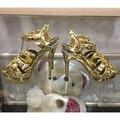 2016 A Estrenar Color de Sandalias de Gladiador de Las Mujeres de Cuero Genuino Bombea Zapatos de Tacón Alto Zapatos de Mujer Sandalias Mujer 35-41