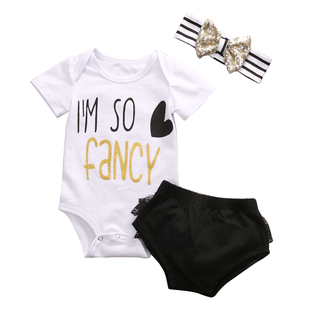 3pcs Set 2017 Baby Girl Kids Clothes Newborn I m so fancy Bodysuit Top +headband +Shorts Outfit Sets