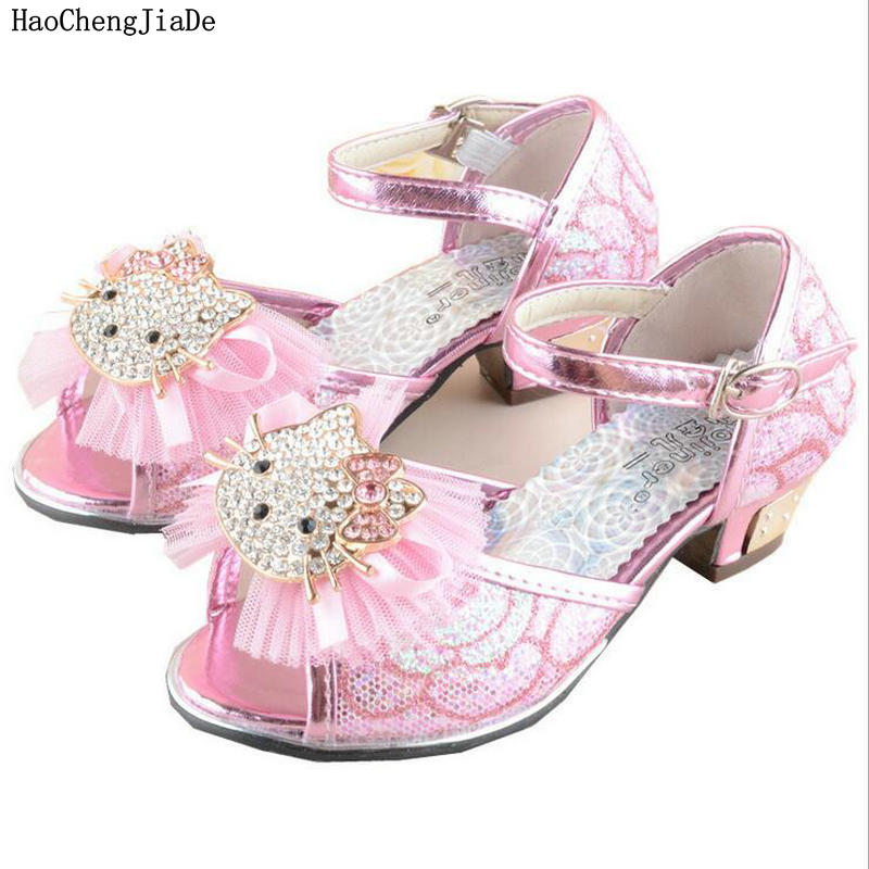 f1acec638 2018 New Fashion beautiful Girls Heel Shoe Hello kitty Sandals Children  Shoes High Heels Princess Bow Sweet Sandals Lovely Shoes-in Sandals from  Mother ...