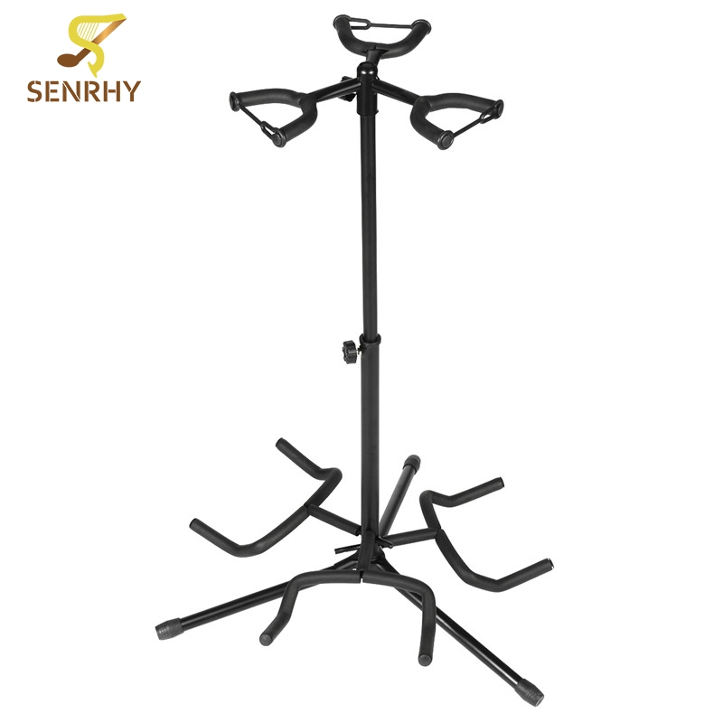 3 Holder Iron Foldable Acoustic Electric Bass Guitar Stand