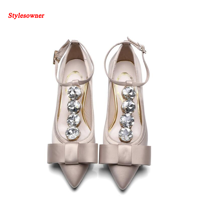 Stylesowner 2017 New Coming Women Satin Shoe Rhinestone T-type Pointed Toe Bowtie Thick Heel Pumps Shoes Elegant Party Shoe satin flowers t bar pumps