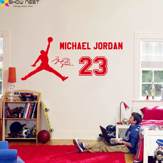Michael Jordan 23 Wall Decal Vinyl Sticker, Kids Basketball Boys Idol  Poster, Children Bedroom Part 41