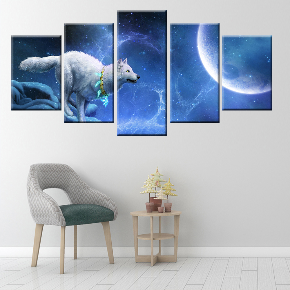 Moonlight Night Wolf Animal Poster Canvas Painting 5 Panel HD Print Home Decoration Wall Art Living Room Bedroom in Painting Calligraphy from Home Garden