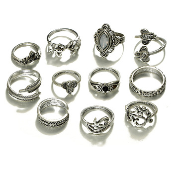 Tocona 11pcs/Set Bohemia Antique Silver Elephant Flower Leaf Carved Rings Sets Rhinestone Knuckle Rings for Women Jewelry 4780 1