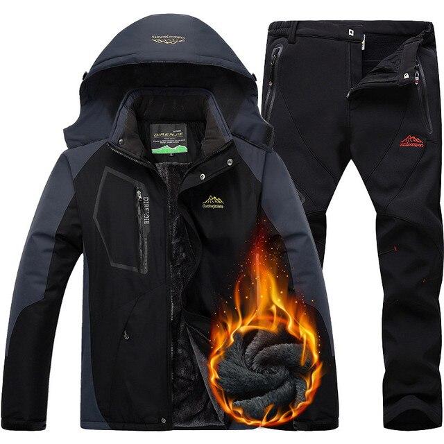 CCIVICFREE Men Waterproof Jacket Pants Outdoor Trekking Hiking Hunnting Jackets Mens Winter Thermal Fleece Snowboard Ski Suit