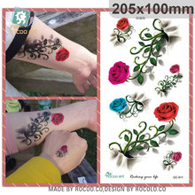 QC611/New 2015 waterproof  large 3d flower design temporary tattoo sticker for women