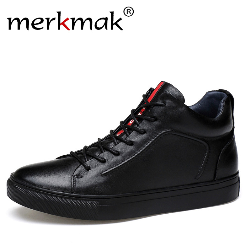Merkmak Genuine Leather Men Waterproof Shoes Men Casual Sneakers Fashion Ankle Boots For Men High Top Winter Men Shoes Size 47 fonirra new fashion high top casual shoes for men ankle boots pu leather lace up breathable hip hop shoes large size 45 728