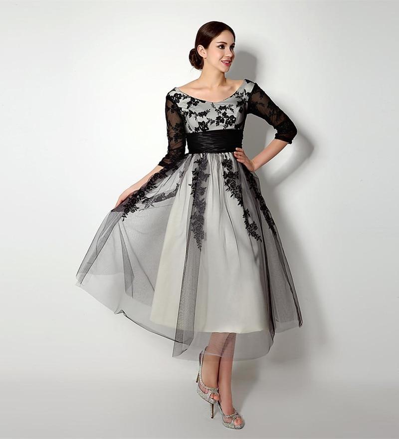 Black Tea Length Wedding Dresses with Sleeves