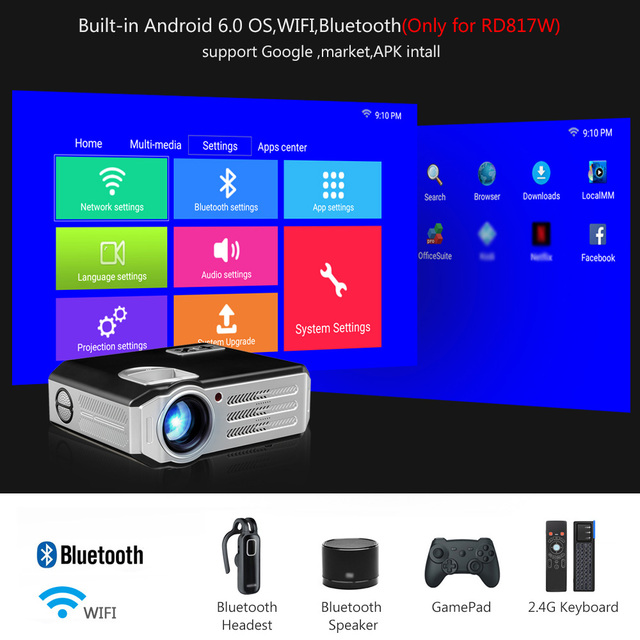 ThundeaL RD-817 LED Android WiFi Projector 3500 Lumens Projector Video HDMI USB Full HD 1080P Projetor TV Home Theater Beamer 1