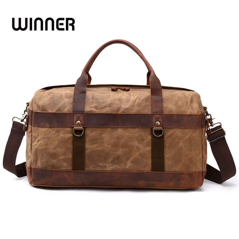 Winner Casual Portable Canvas and Leather Crossbody Travel Bags Duffle Road Weekend Carry on Traveling Luggage Tote Bag 1826