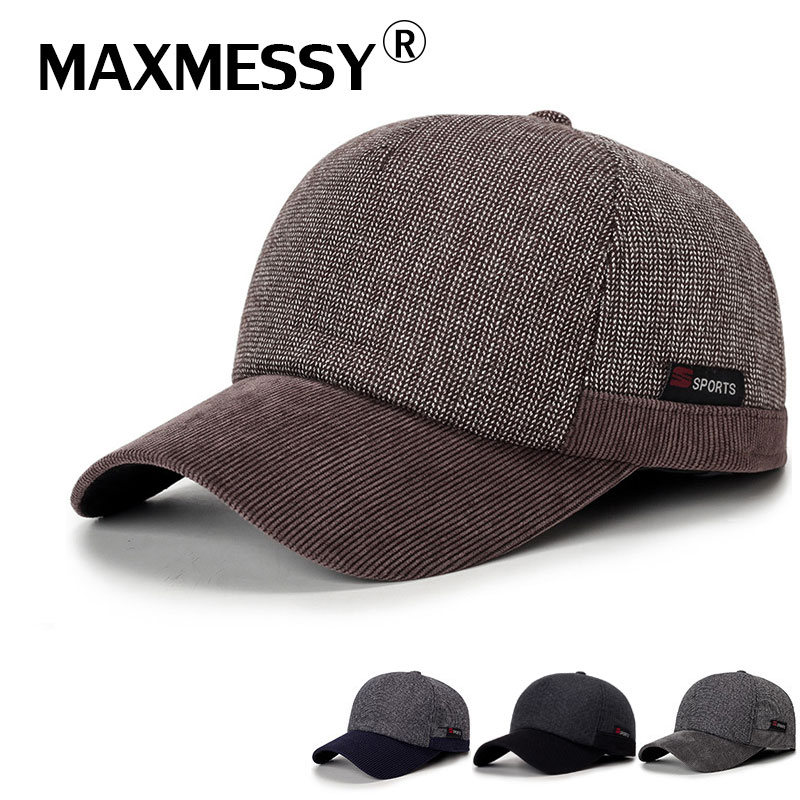 MAXMESSY Warm Winter Thickened Knitted Baseball Cap With Ears Men's Cotton Hat Snapback Ear Flaps For Men MBC007 new high quality warm winter baseball cap men brand snapback black solid bone baseball mens winter hats ear flaps free sipping