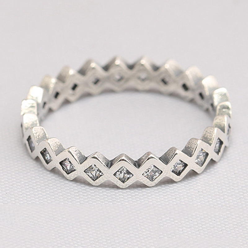 Authentic 925 Sterling Silver Ring Square Eternity Rings With Crystal For Women Wedding Party Gift Fine Jewelry