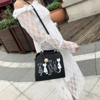 Cat Pattern Of Foreign Women Handbag Fashion The Latest Letter Messenger Bag Ladies Shoulder Bag PU