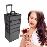 5 In 1 Universal Large Aluminium Beauty Make Up Cosmetic Rolling Case Trolley