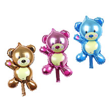 KUAWANLE 3pcs/lot Mini Baby Bear Balloon Baby Shower Boy Girl Foil Air Balloons Birthday Party Decoration Globos Inflatable Toys(China)