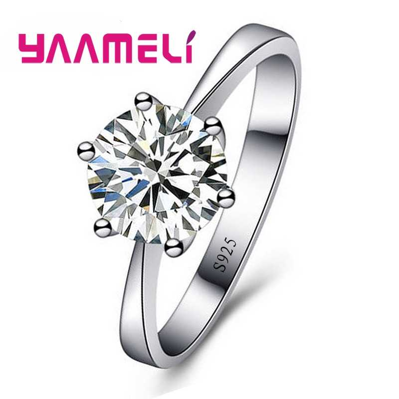 European Wedding Rings For Women Gift 925 Sterling Silver Austrian Crystal Engagement Proposal Ring Jewelry Bague Femme