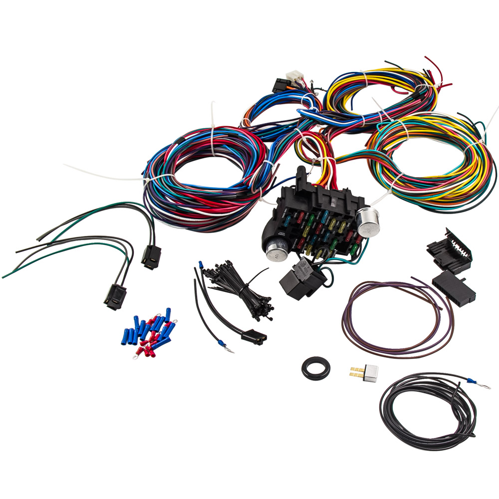 21 Circuit Wiring Harness For Chevy Mopar Ford Hot Rod Universal Wire Extra Long Wires 17 Fuses Street Kit On Alibaba