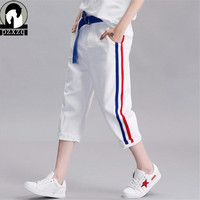 Summer Red Blue Stripe Women White Jeans Harem Pants Elasticity White Jeans Woman Capri Boyfriend Jeans