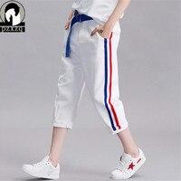 Summer Red Blue Stripe Women White Jeans Harem Pants Elasticity White Jeans Woman Capri Boyfriend Jeans