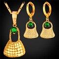 Conjuntos de jóias para as mulheres banhado a ouro amarelo cúbicos de zircônia u7 atacado Colar Brincos Conjuntos Saco Bilum Em Papua Nova Guiné S239