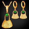 U7 sistemas de la joyería para las mujeres oro amarillo plateado zirconia cúbico Bilum Bolsa En Papua Nueva Guinea al por mayor Aretes Collar de Conjuntos S239