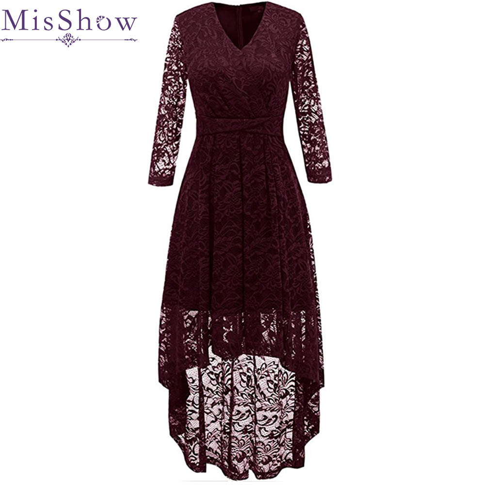 2019 Elegant 3/4 Sleeve Lace   bridesmaid     dress   Long Back Short Front   Dress   for Wedding Party Women burgundy   bridesmaid     dresses