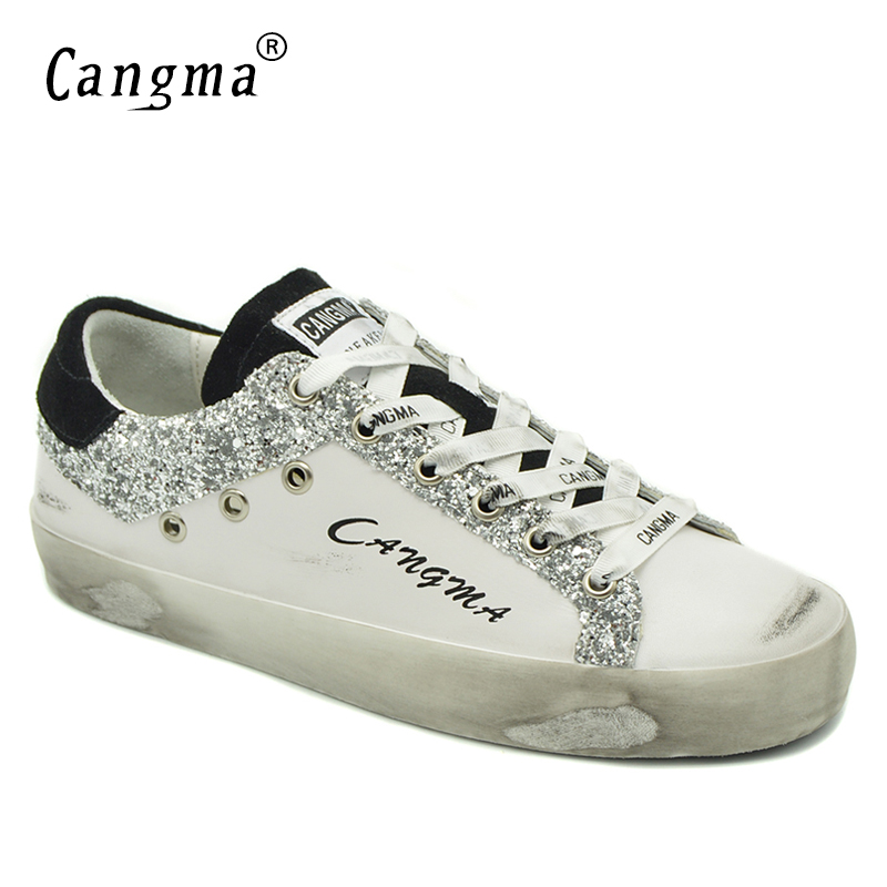 CANGMA Designer Sneakers Women White Breathable Genuine   Leather   Footwear Ladies Shoes New Style   Suede   Silver Glitter Flat Shoes