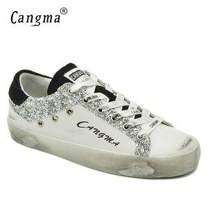 Image 1 - Cangma مصمم رياضة المرأة الأبيض نمط تنفس جلد طبيعي الأحذية السيدات الأحذية الجديدة الغزال الفضة بريق أحذية مسطحة